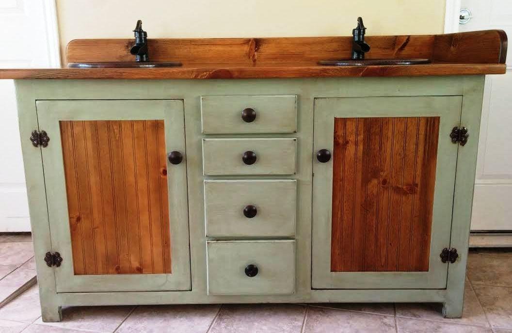 rustic bathroom vanities Pale Green And Wood Double Vanity