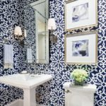 Patterned powder room decor