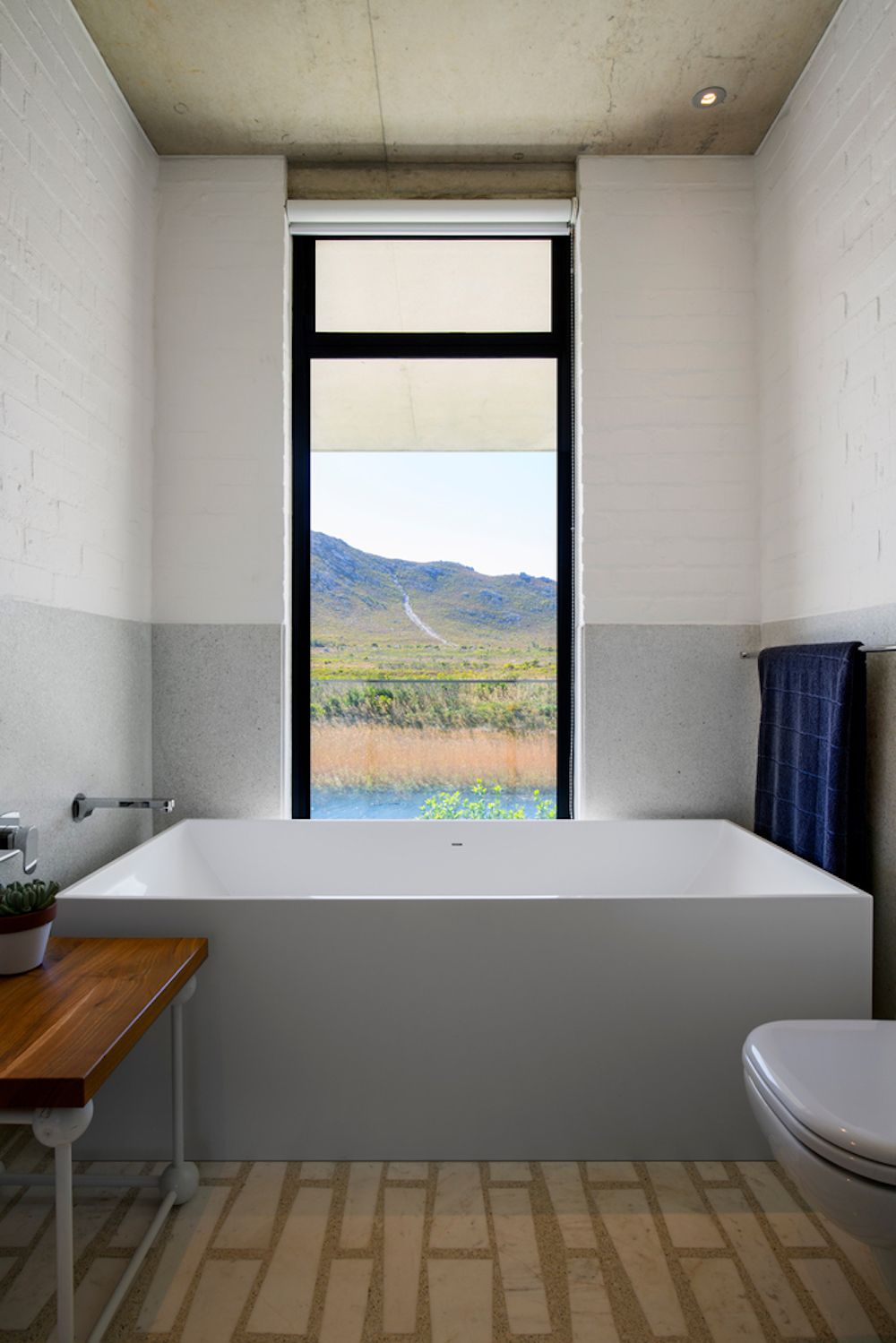 Even the bathrooms frame some really beautiful views of the river and the distant mountains