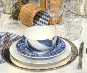 Mix and match dinnerware within one color family is elegant.