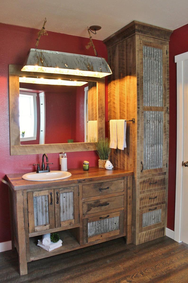 rustic bathroom vanity Reclaimed Wood With Tin Combo