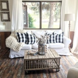 Rustic farmhouse living room with minimal decor