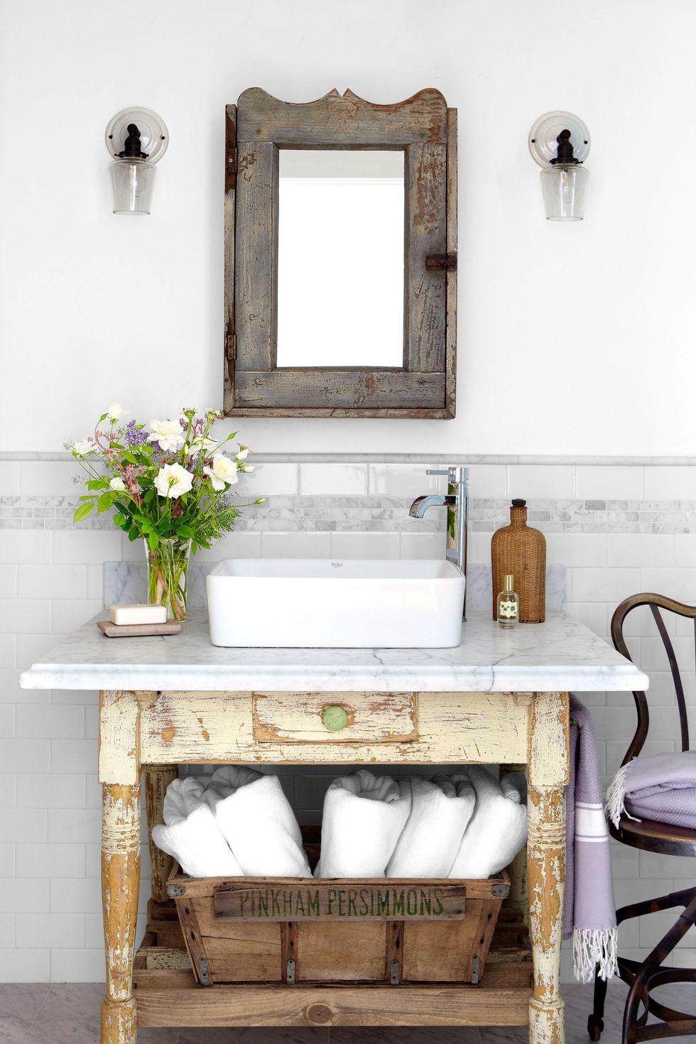 rustic bathroom vanities Rustic White Table Vanity