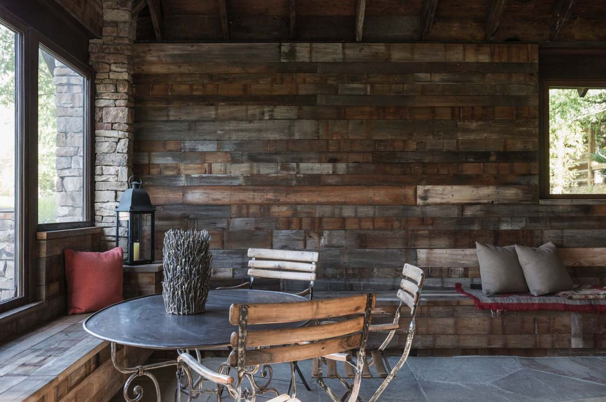 Stone And Wood Make A Dark Masculine Interior: How A Wood Wall Can Influence A Space's Decor And Ambiance