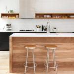 Sleek and natural kitchen layout decor