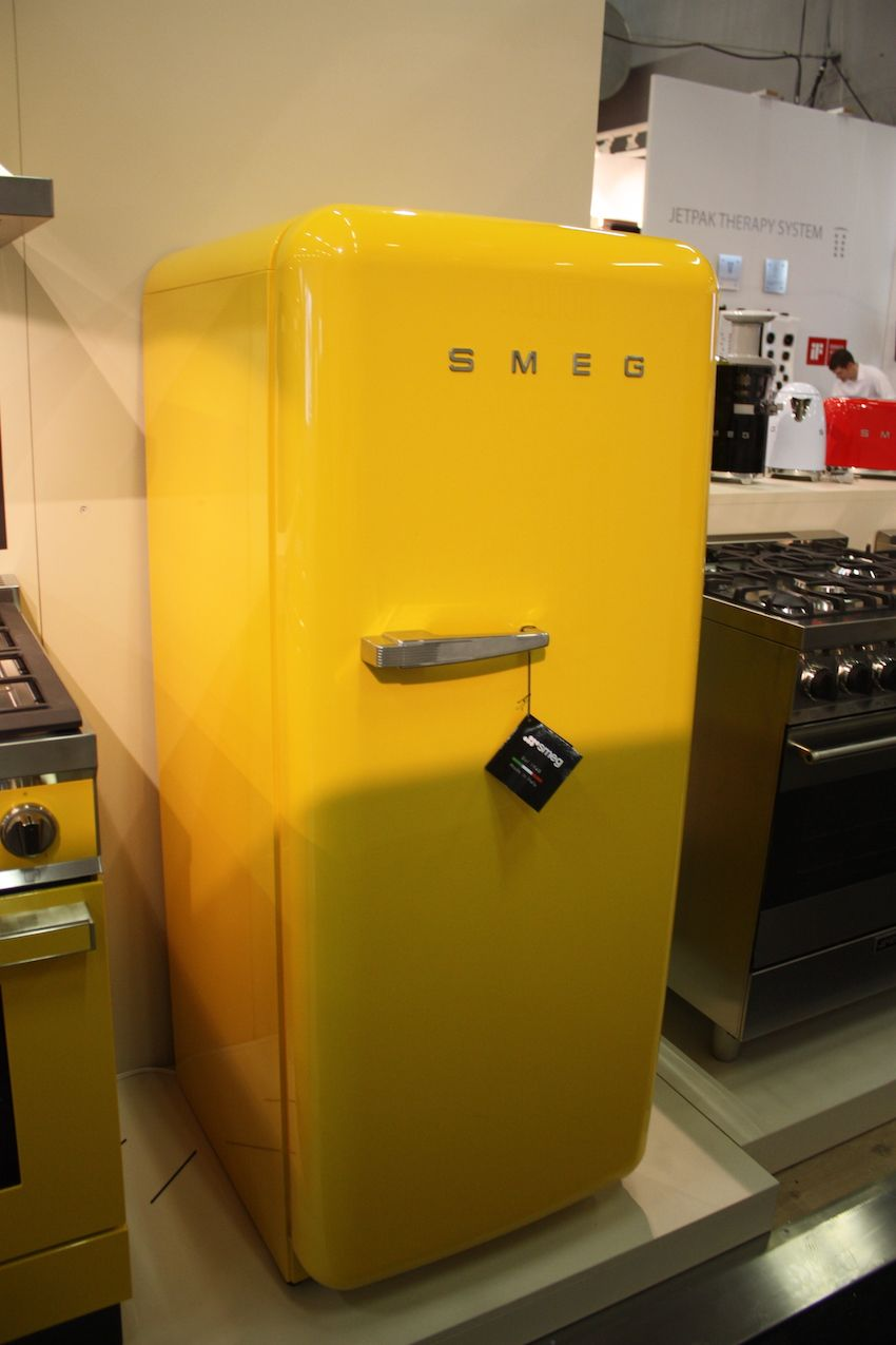 Go bold with a retro yellow refrigerator in your kitchen.