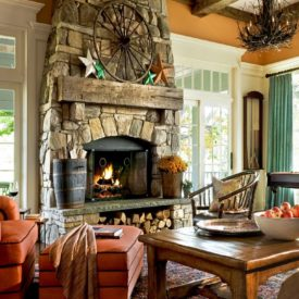 Stacked stone wall fireplace decor