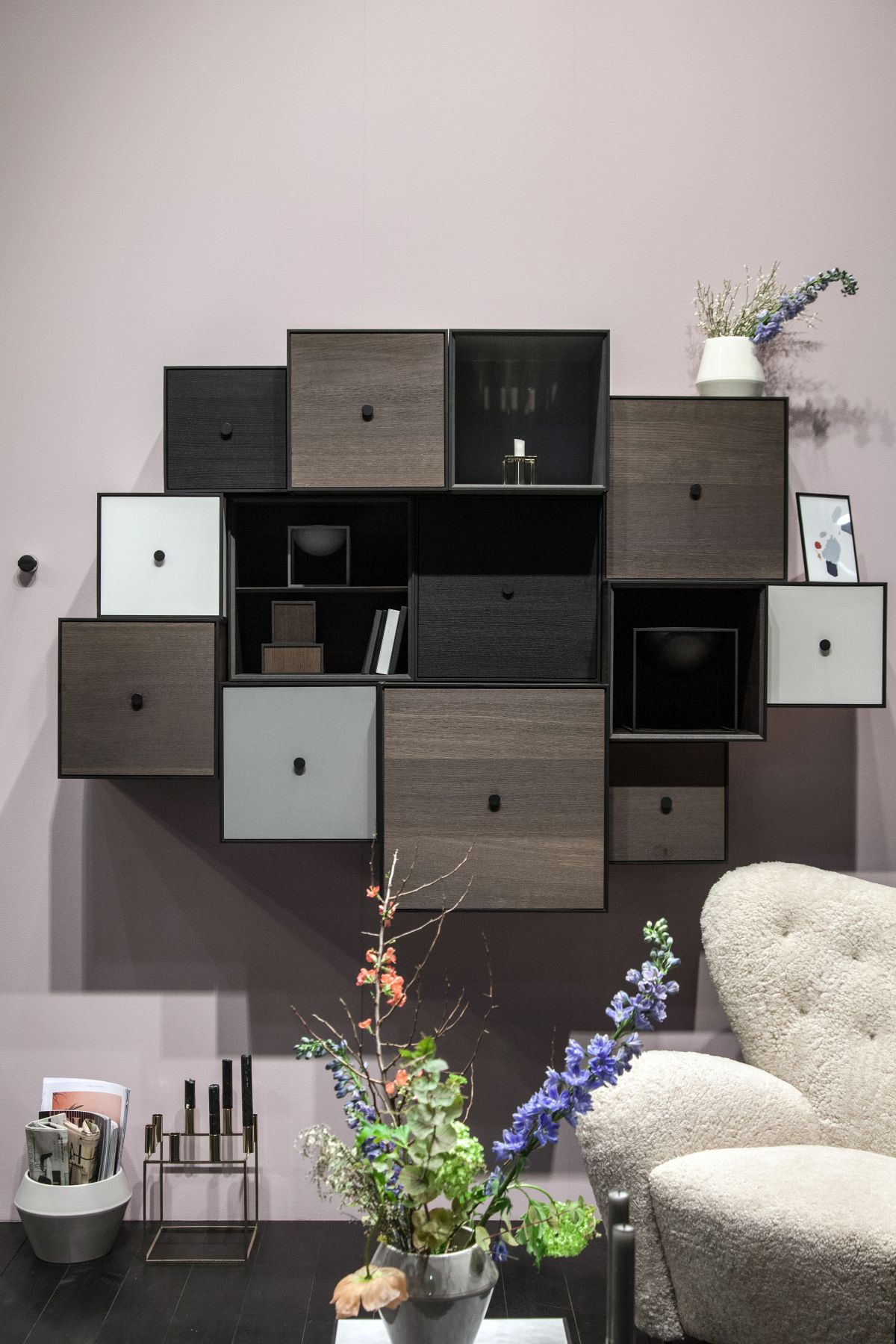 An arrangement of storage cubbies with the occasional open shelf can be really fun to design