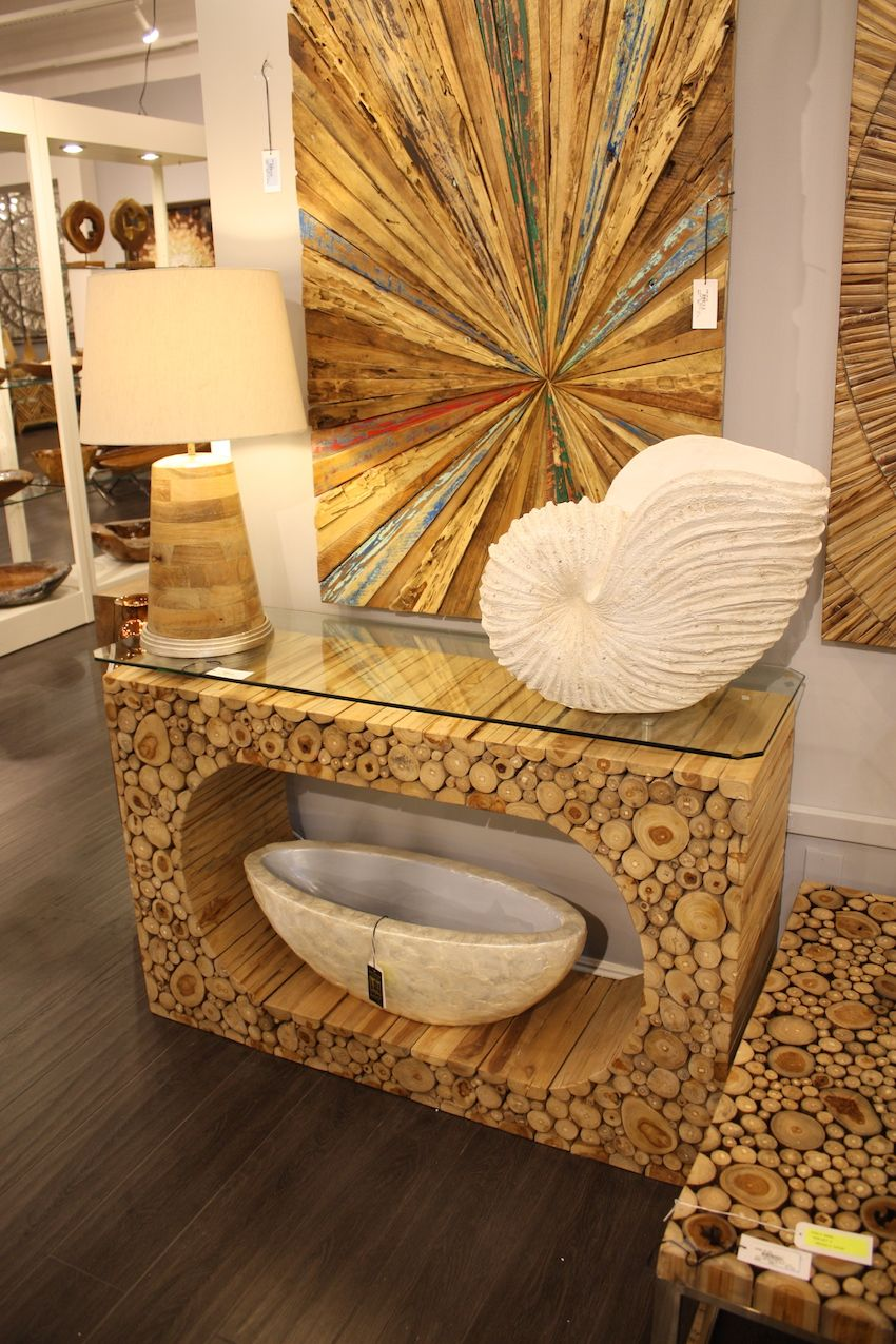 Recycled and sustainable woods are the best choices for furnishings and decor.