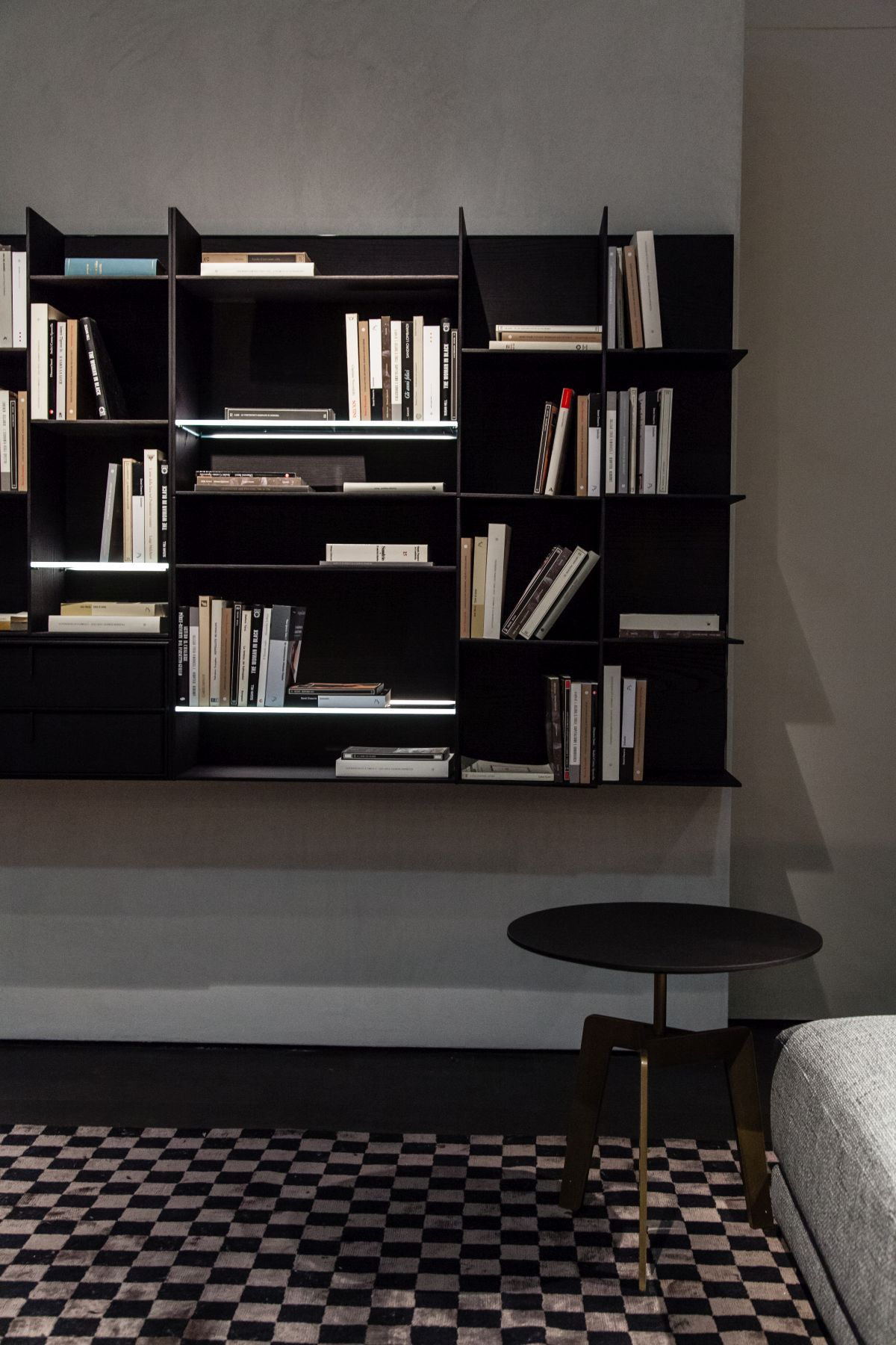 Bookshelves can be of many different kinds and this geometric configuration is just one of the options