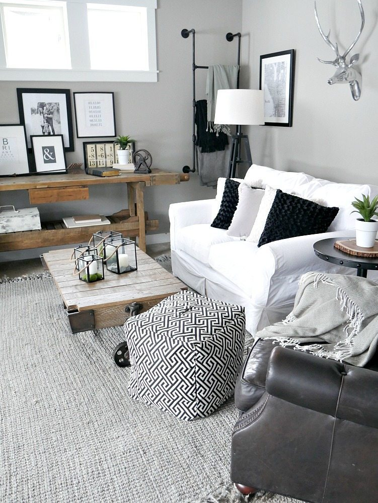 Gray And White Transitional Rustic Living Room With: 40 Rustic Living Room Ideas To Fashion Your Revamp Around