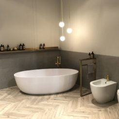 Bathroom decor with corner bathtub design