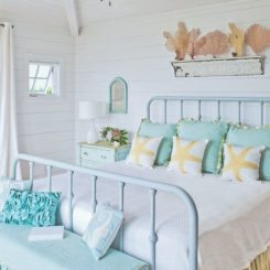Beach bedroom with turquoise accents