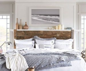 Beach bedroom with wood headboard
