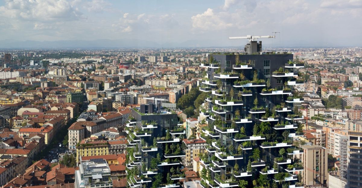 The towers create a beautiful microclimate in the urban context of Milan, being situated at the center of the city