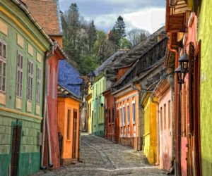 Colorful houses on Sighisoara, Romania