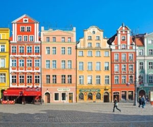 Colorful houses on Wroclaw, Poland