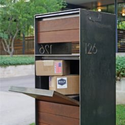 Freestading mail box made from steel