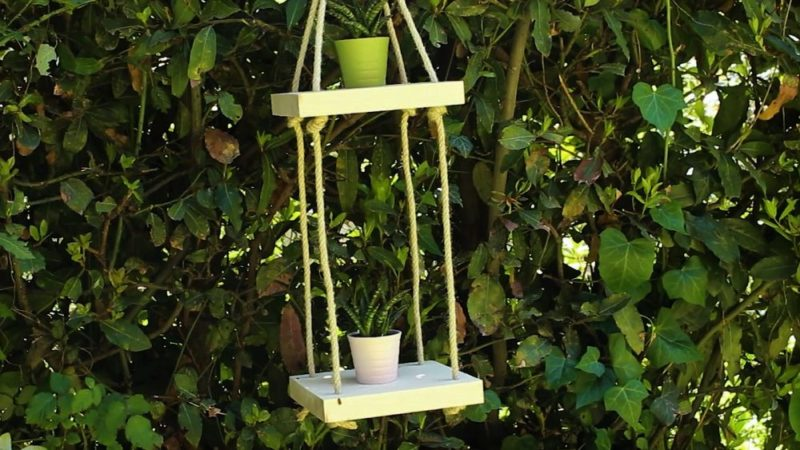 Craft A Hanging Wooden Shelf For Your Garden