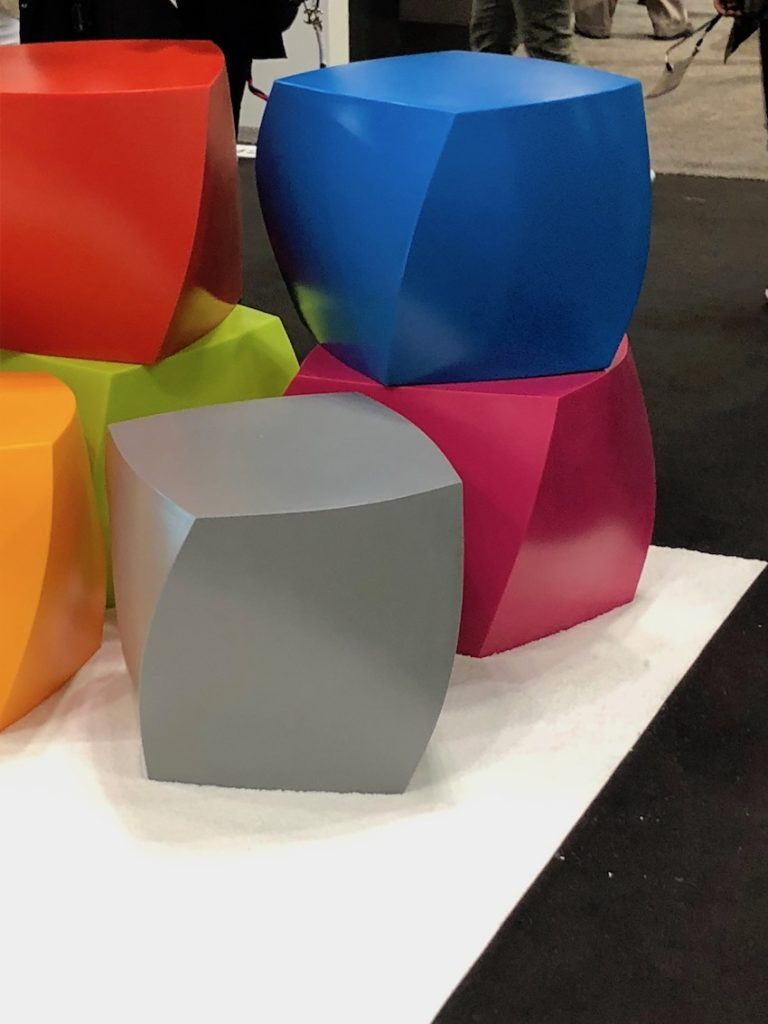 The Left Twist Cube is both sculpture and furniture.