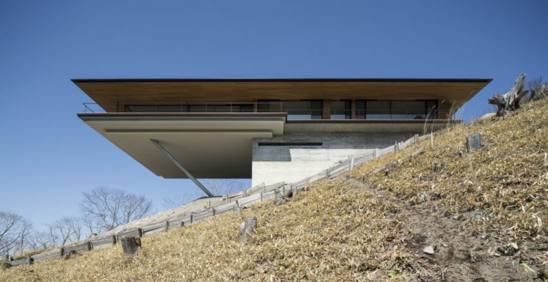 A Cantilevered House Supported By Two Diagonal Cylinders