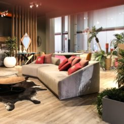 How to design an open living room - cowhide rug