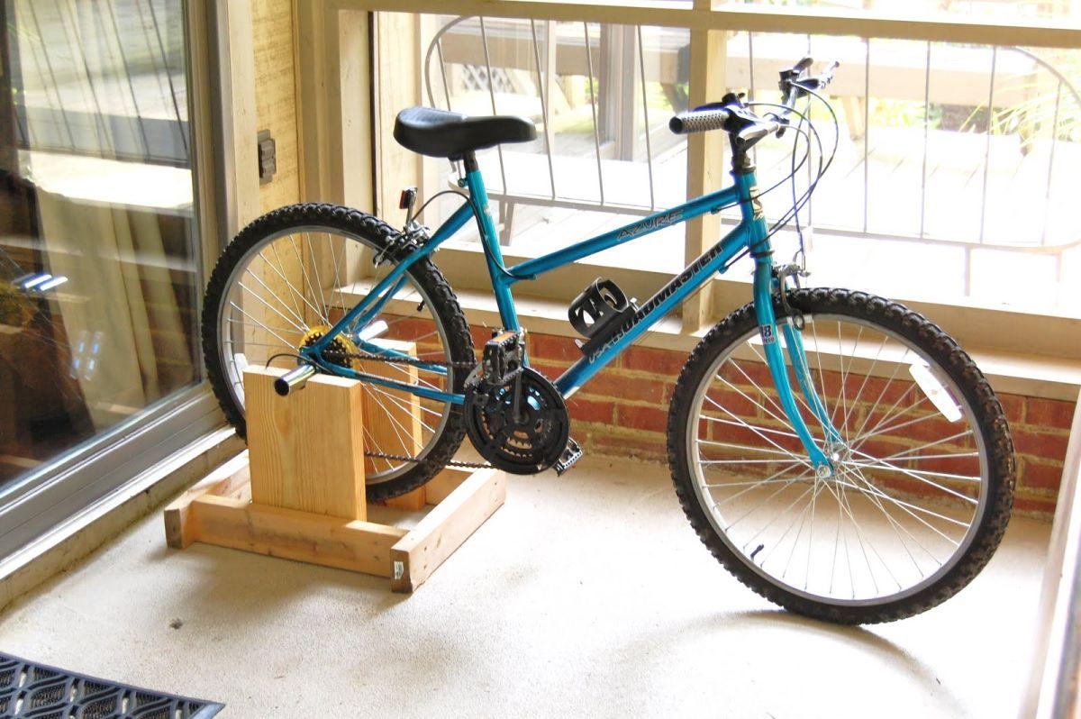 Floor Stationary Bike Wheel Rack Indoor Outdoor Bike Stand