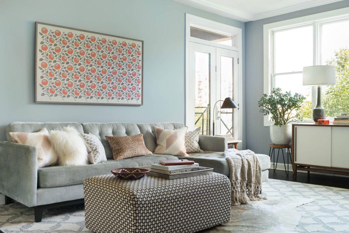 Midcentury living room pattern art