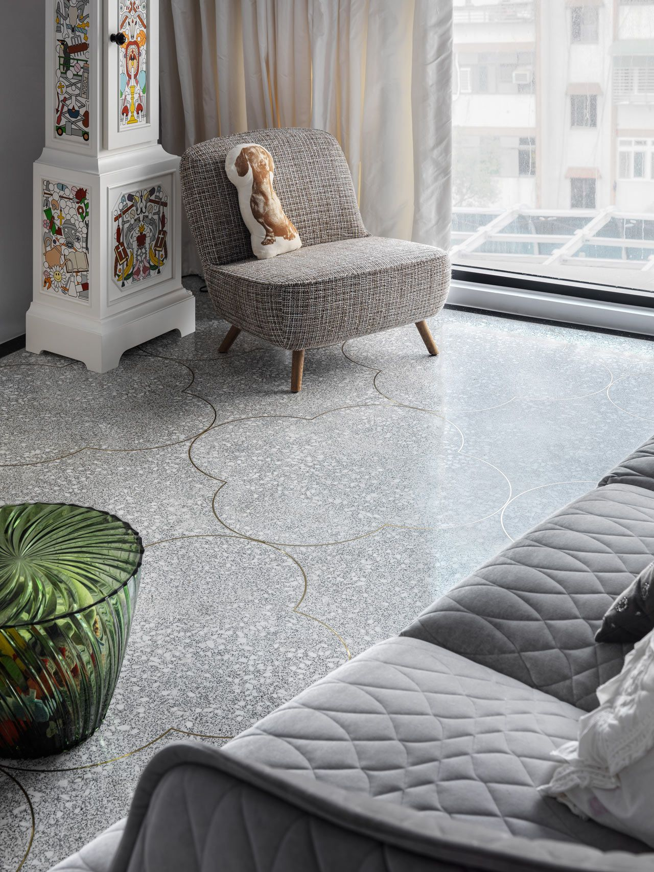 Divider Strips In Terrazzo Floor Form The Decorative Pattern