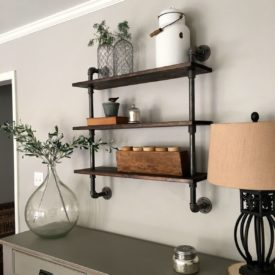 Modern entryway pipe shelving design