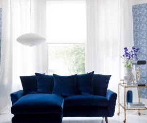 Modern living room velvet blue sofa