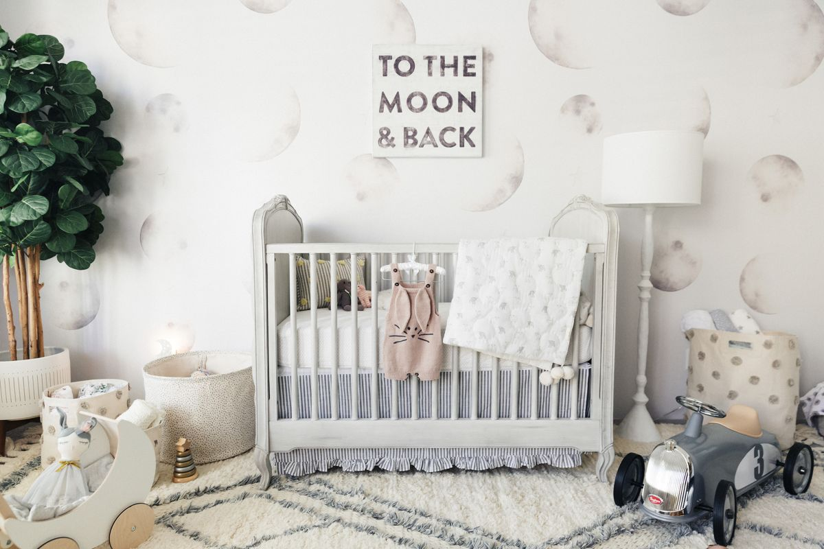 Neutral moon wallpaper for nursery room
