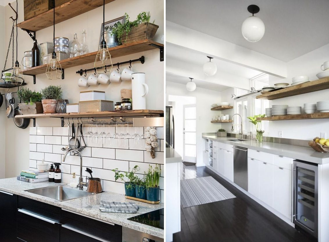 Open space shelves on the kitchen from reclaimed wood