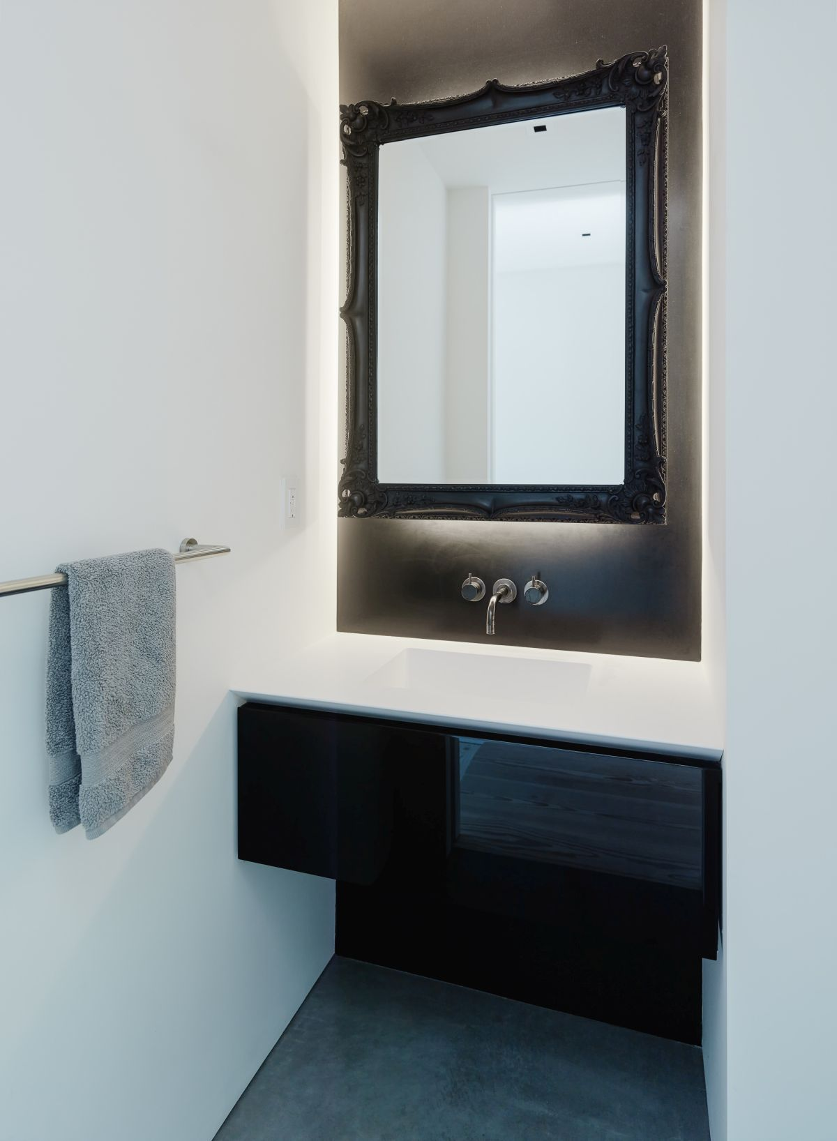 Certain ornate accent pieces here and there add visual interest to particular spaces like this mirror in the bathroom for example
