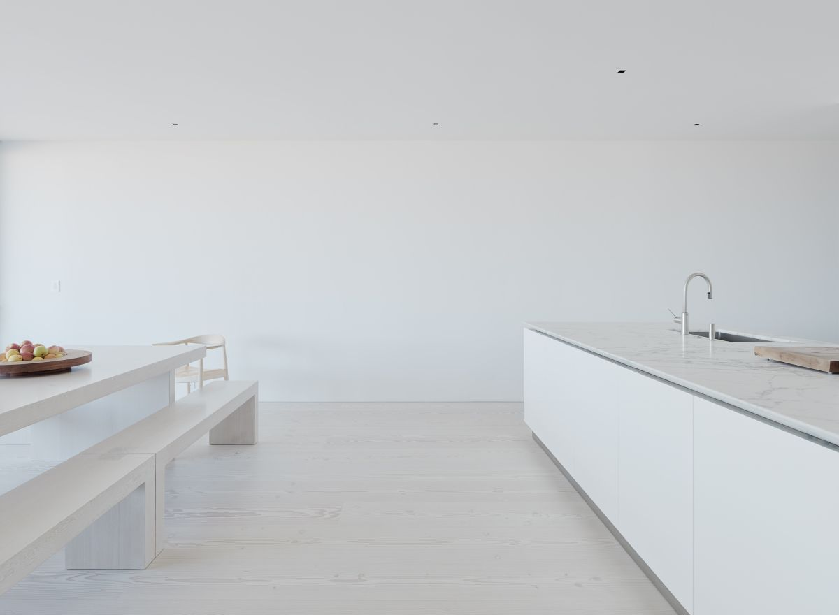 The simplest area of all would probably have to be the kitchen and dining space which are almost entirely white