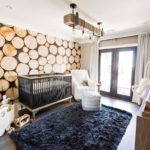 Rustic nursery wallpaper logs