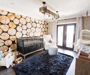 Rustic nursery wallpaper logs