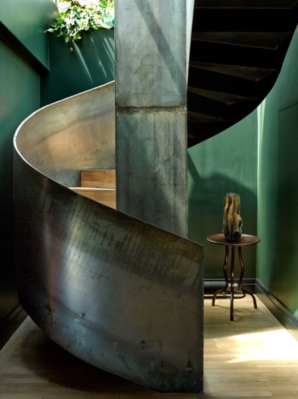 Beautiful Interiors With Steel Spiral Staircase Focal Points