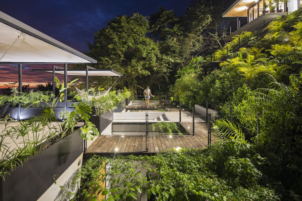 The lush vegetation basically envelops the pavilions, making it seem as if they emerge out of the gardens