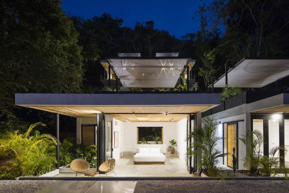The pavilions can be opened up completely, welcoming the outdoors in and connecting the bedrooms to the terraces