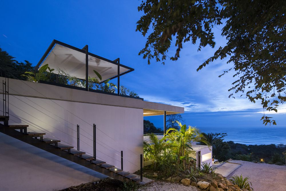 The guests stay in pavilion-like structures, each with a roof terrace that offers the most amazing ocean views