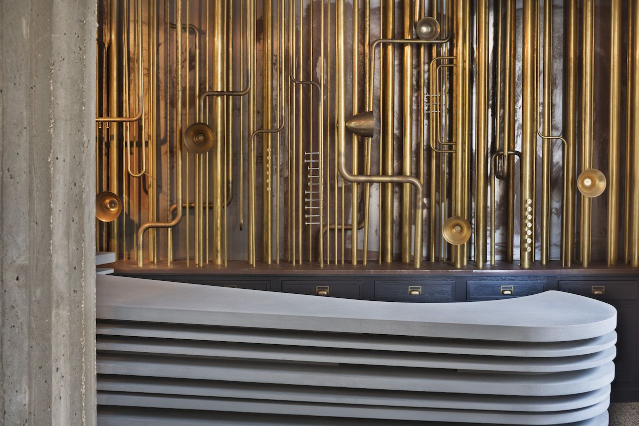 This installation by a local artisan makes a spectacular backdrop for the lobby desk.