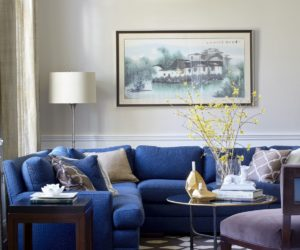 Traditional living room bright blue sectional