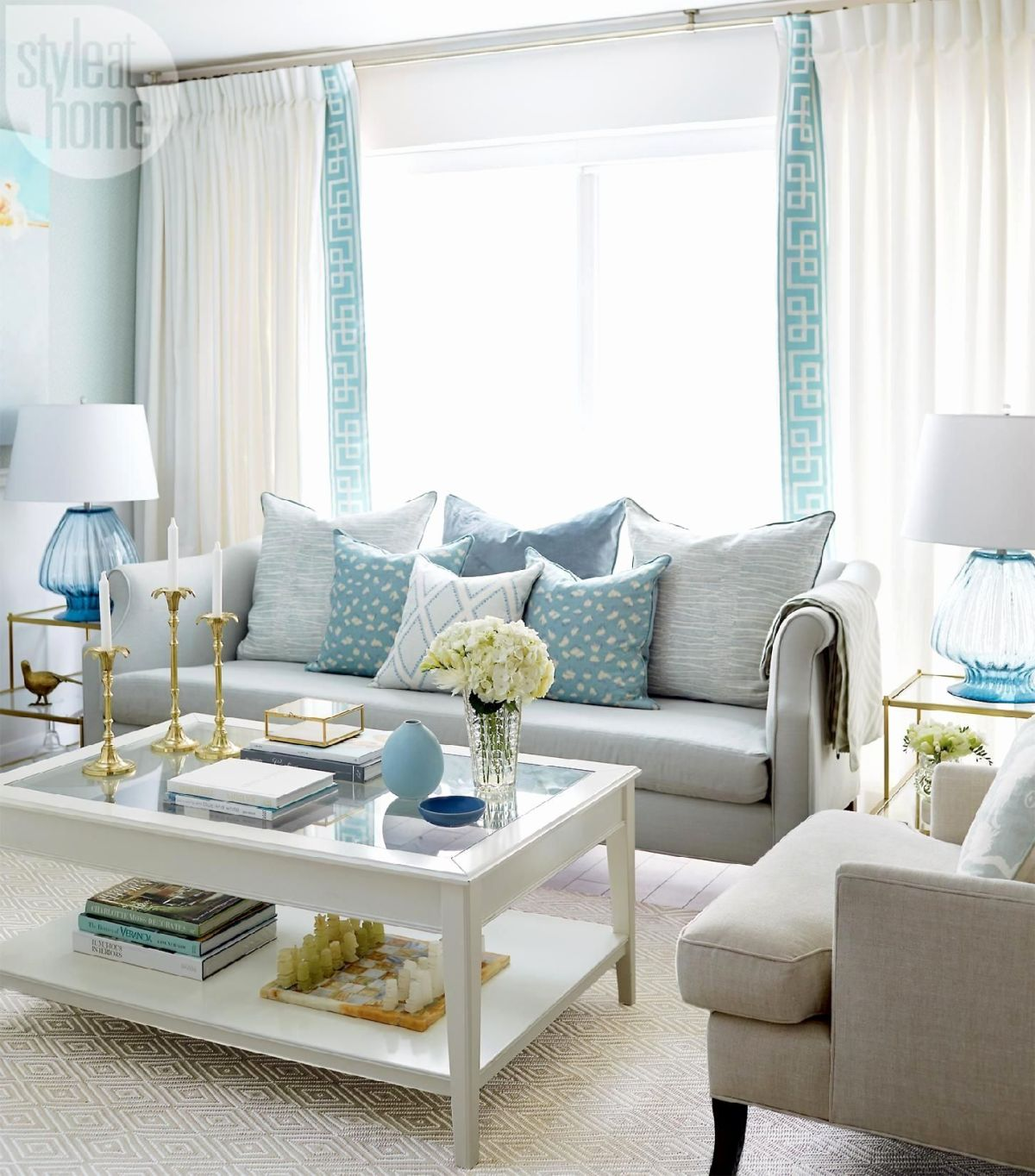 Blue living room view in gallery