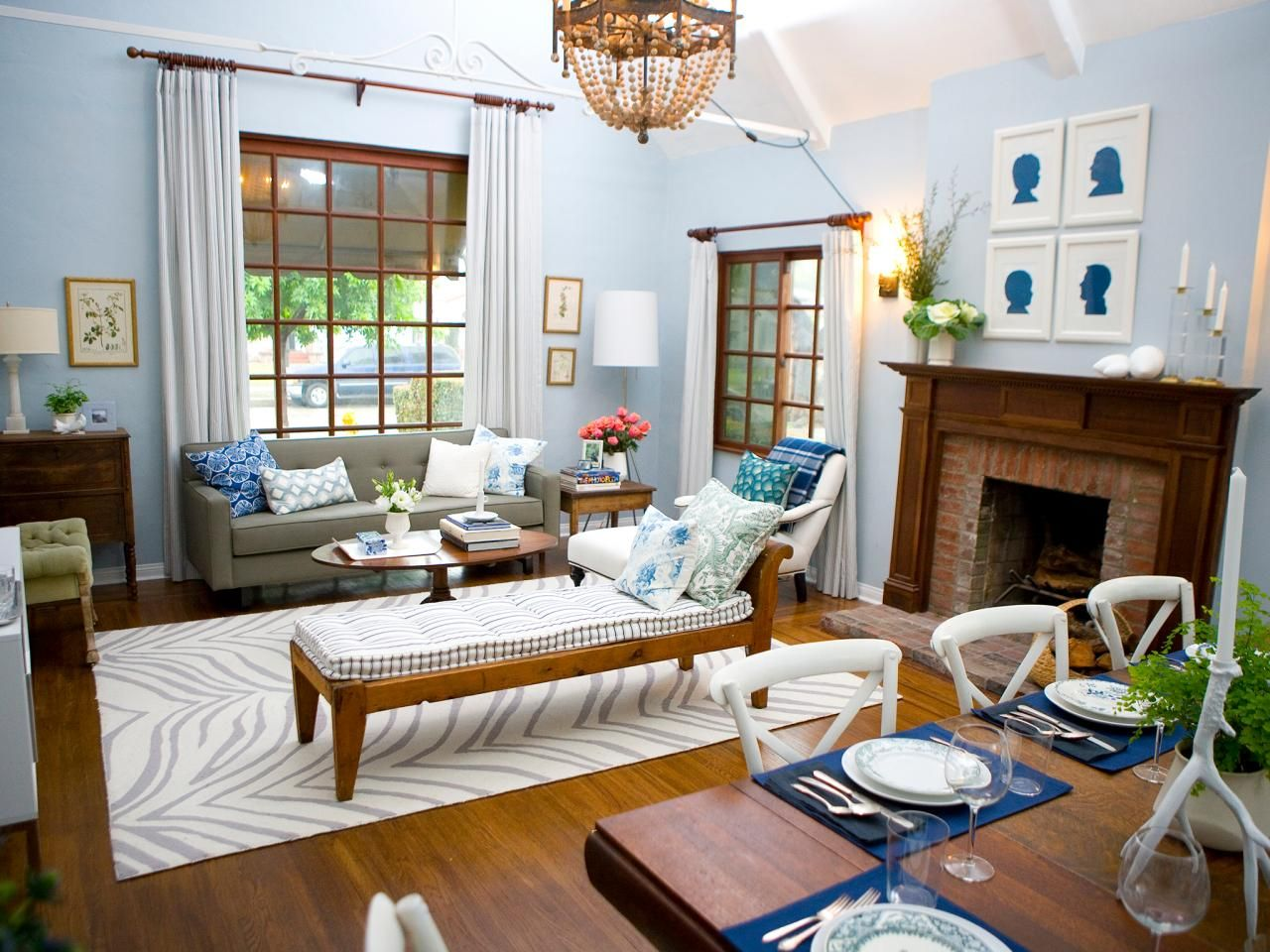 Traditional living room with blue walls