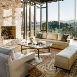 Transitional interior design with view