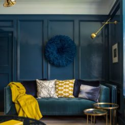Transitional living room deep teal monotone