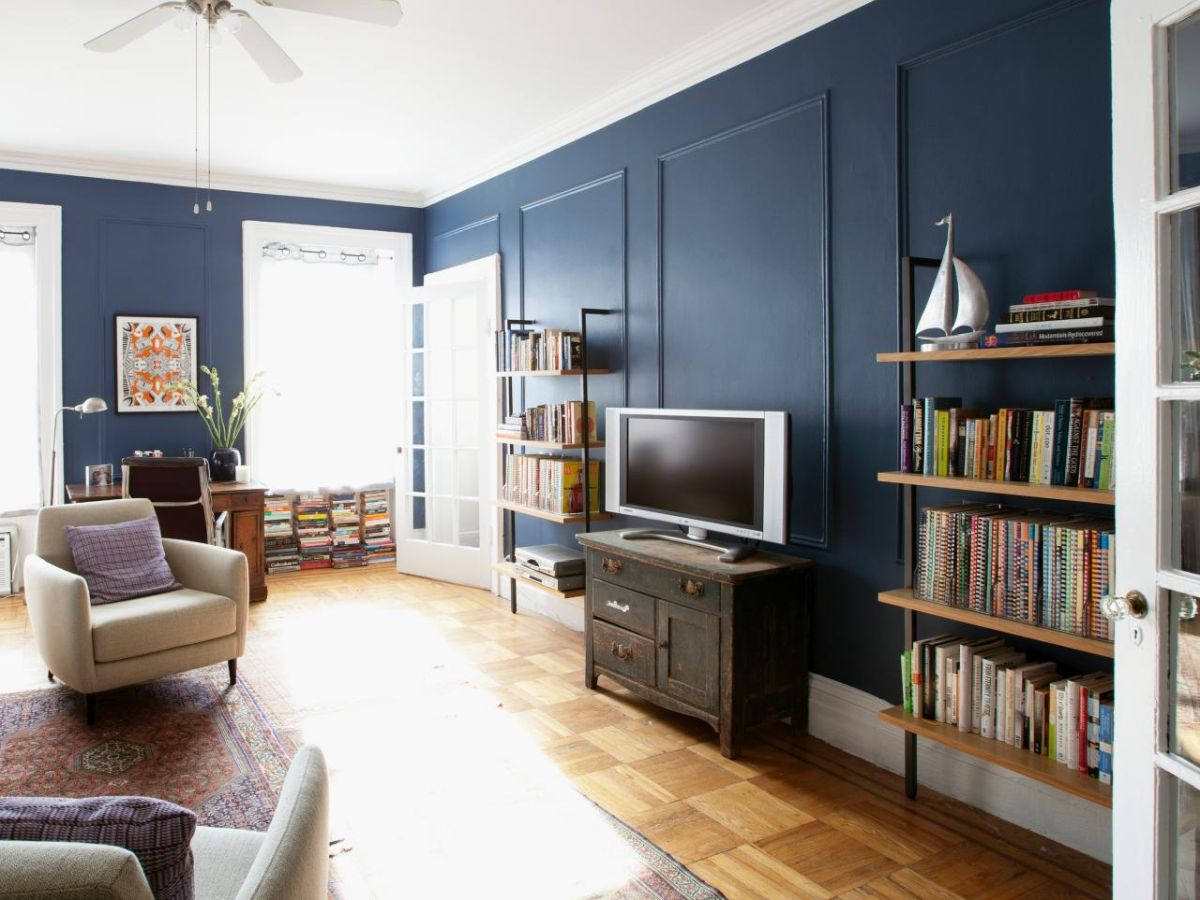 Transitional living room dusty blue walls