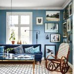 Transitional living room multiple blue shades