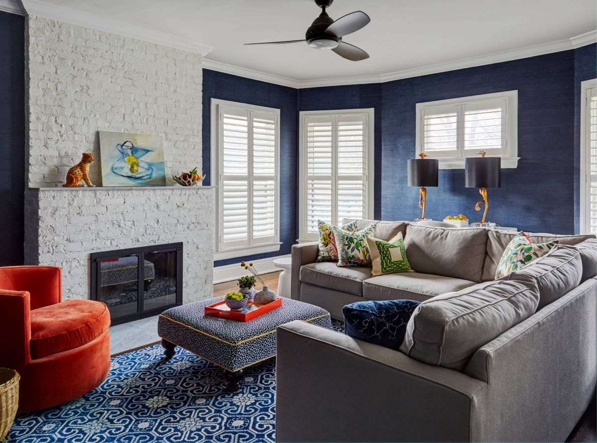 outstanding navy white living room | 29 Blue Living Rooms Made For Relaxing